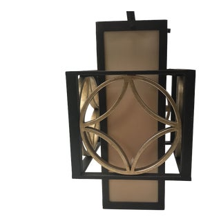 Bronze and Gold Metal Square Hanging Lantern For Sale