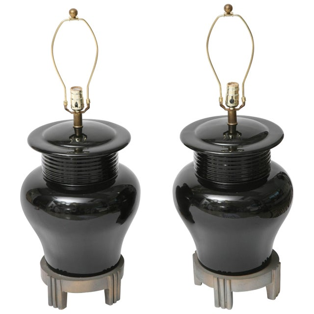 Art Deco Revival Large-Scale Black Ceramic Vase Form Table Lamps - a Pair For Sale - Image 11 of 11
