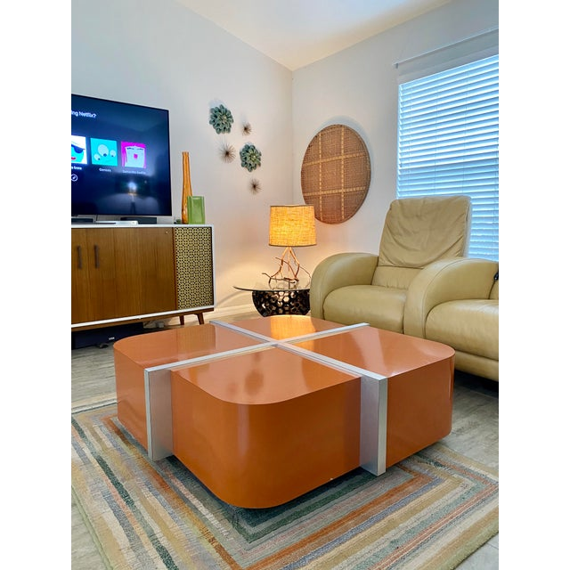 The Lacquer Company Vintage Flair Home Lacquer Company Cinnabar/Chrome Coffee Table For Sale - Image 4 of 8