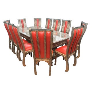 Handmade Moroccan Dining Table & Chairs - Set of 13