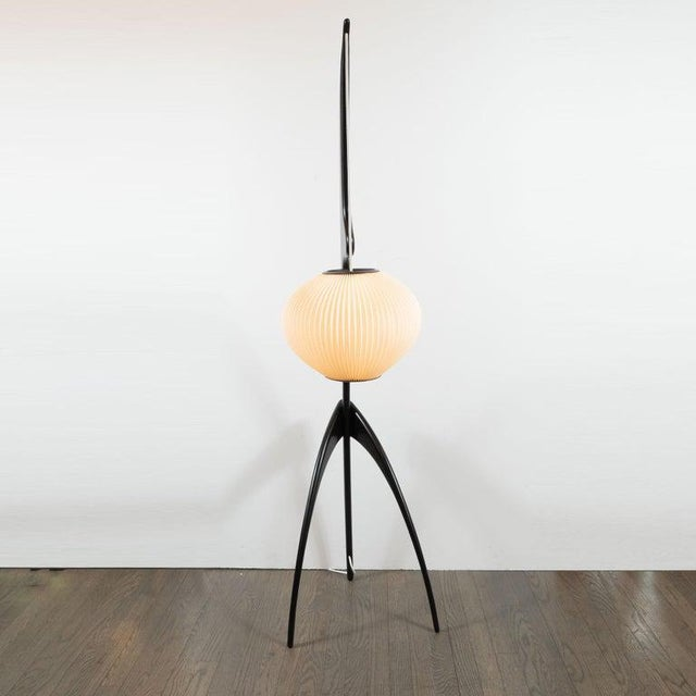 "Mid-Century Modern ""Praying Mantis"" Ebonized Walnut Floor Lamp by Jean Rispal For Sale In New York - Image 6 of 10"