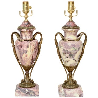 Pair of 19c. Rouge Marble Urn Lamps For Sale