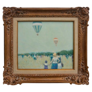 Oil on Canvas Painting, Hot Air Balloons at French Beach by Andre Gisson For Sale