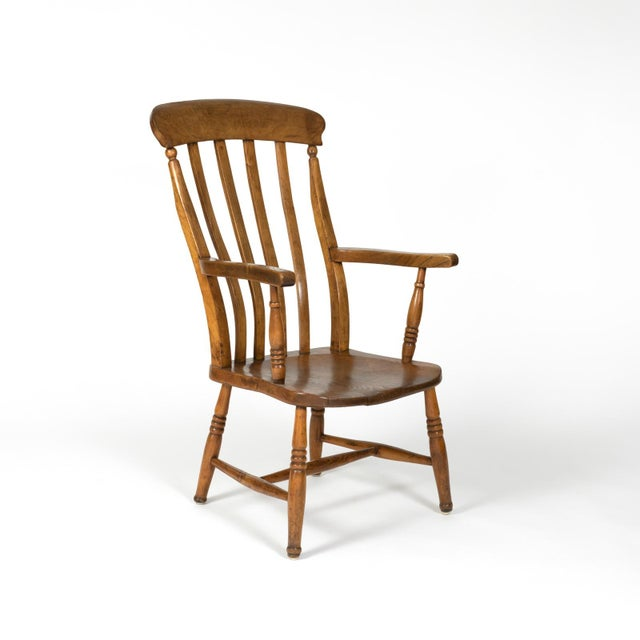 Late 19th Century English Elm Vertical Slat Back Armchair Circa 1890 With Turned Legs and H-Stretcher For Sale - Image 5 of 13