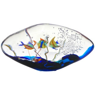 Alberto Dona 1980s Modern Blue Yellow Orange Green Murano Glass Oval Aquarium For Sale