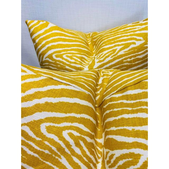 """Transitional Brunschwig & Fils """"Le Zebre Saffron"""" 22"""" Pillows-A Pair For Sale - Image 3 of 5"""