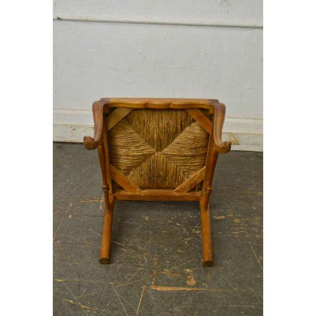French Country Style Antique Oak Rush Seat Dining Chairs - Set of 6 For Sale - Image 12 of 13