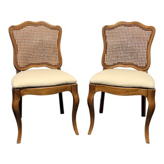 DAVIS CABINET Co Fleming Walnut French Provincial Cane Dining Side Chairs - Pair