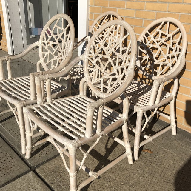 Boho Chic S/4 Cracked Ice Rattan Arm Chairs, Att. McGuire For Sale - Image 3 of 7