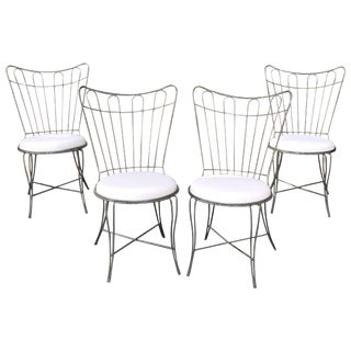 Salterini Brushed Steel Wire Frame Garden Patio Dining Chair- Set of 4 For Sale