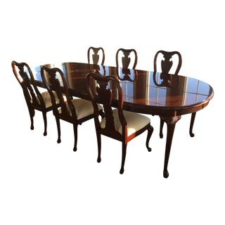 1990s Queen Anne Thomasville Dining Room Set - 7 Pieces For Sale