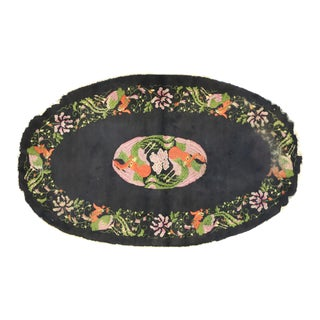 Antique Chinese Oval Accent Rug With Pictorial Phoenix Design - 03'06 X 05'09 For Sale