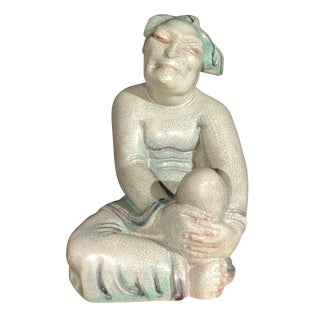 Large Crackle Glazed Buddha Figure For Sale