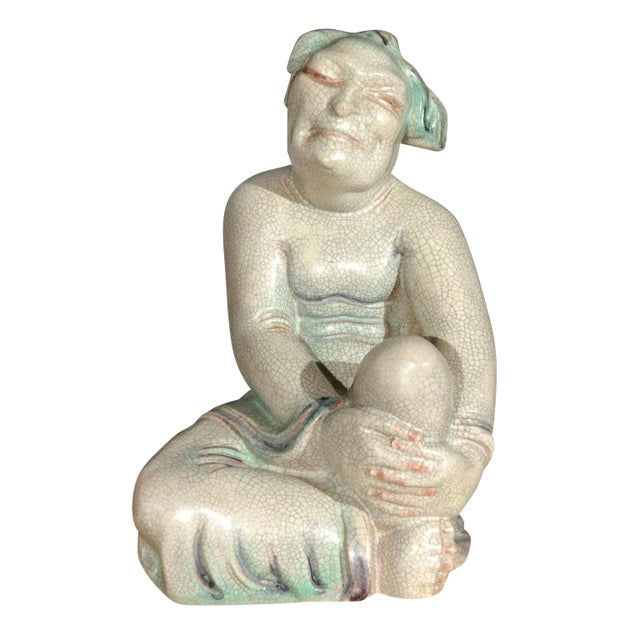 Large Crackle Glazed Buddha Figure - Image 1 of 8