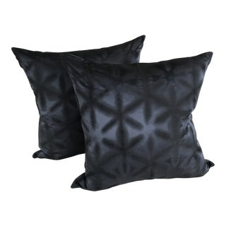 Indigo Silk Shibori Pillows - A Pair For Sale