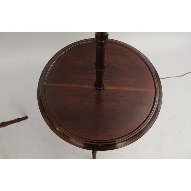 Brown Pair of Chinese Chippendale Faux Bamboo Floor Lamp End Tables Tripod Wood Vintage For Sale - Image 8 of 11