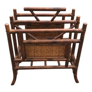 Vintage Late 20th Century Burnt Bamboo and Rattan Magazine Rack For Sale