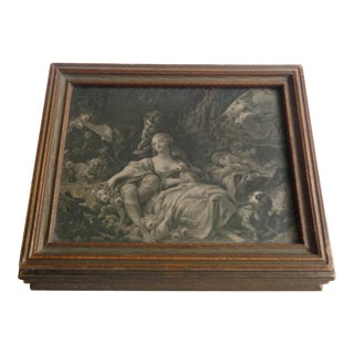 Antique Wooden Jewelry Box With Pastoral Scene For Sale