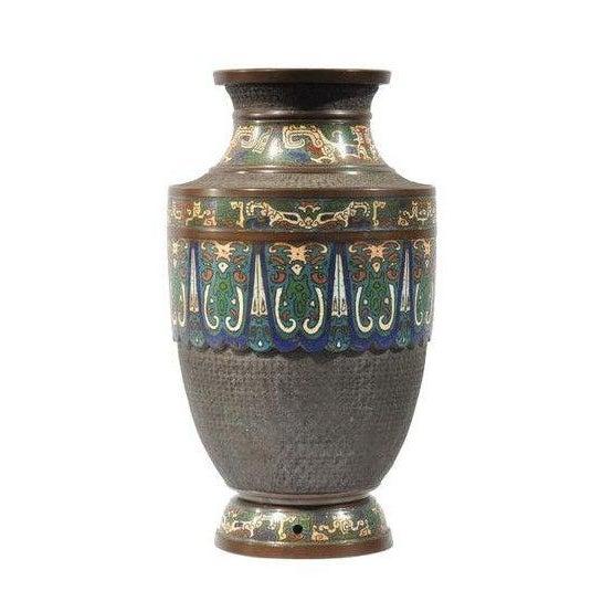 Japanese Bronze Champleve Vase Chairish