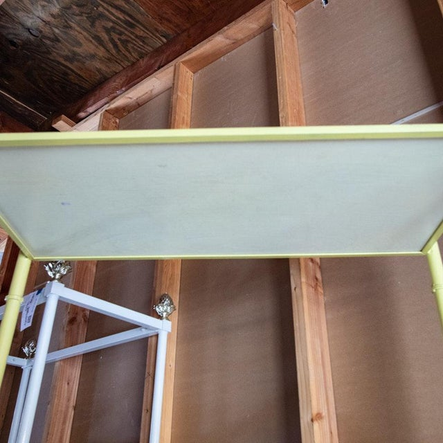 1970s Jansen Style Yellow Painted Metal Framed 5-Tier Etagere For Sale - Image 5 of 8