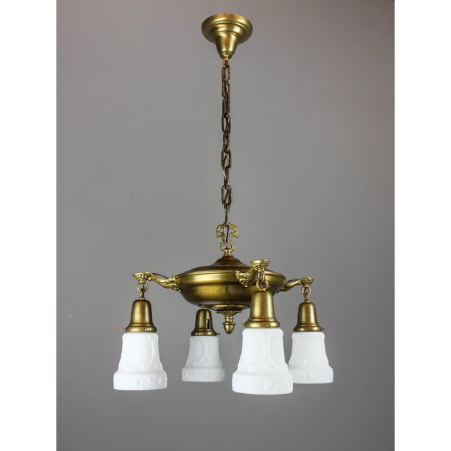Classic original pan light fixture with original olive bronze finish. Well-cast flourished arms fitted with period-correct...