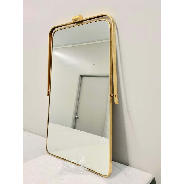 Circa 1950s Italian Brass Frame Mirror, Gio Ponti Attributed For Sale - Image 9 of 12