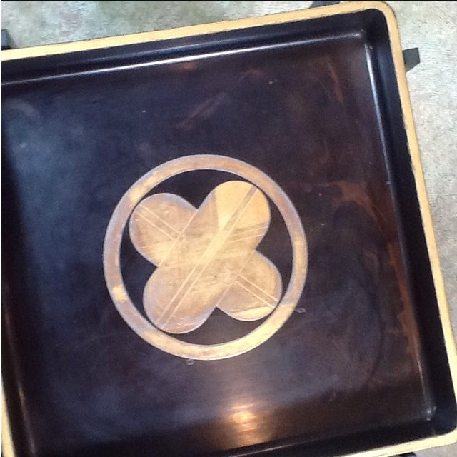 Vintage 1930s Japanese Lacquered Tray W/ Contemporary Metal Stand For Sale - Image 5 of 6