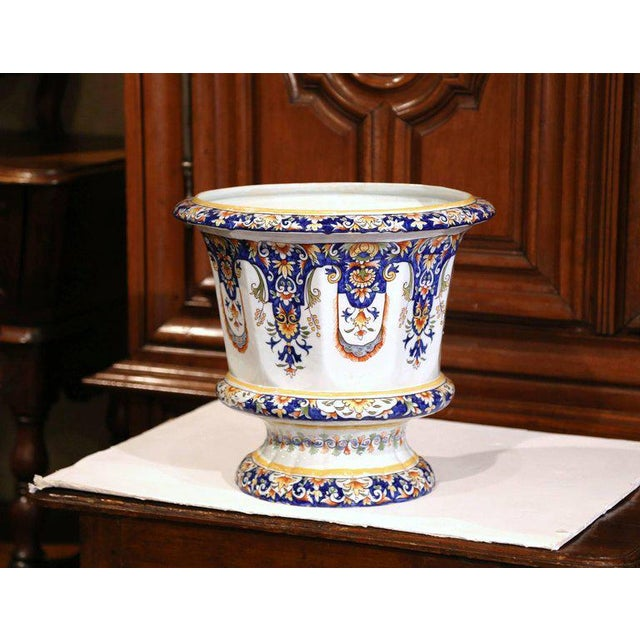 This elegant, large antique ceramic cache pot was crafted in Normandy, France, circa 1920. Signed on the bottom Rouen, the...