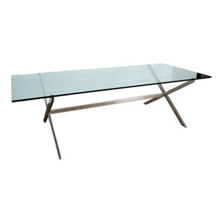 1960s John Vesey Mid-Century Glass Top Aluminum X-Base Classic Conference Table For Sale