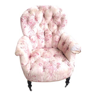 19th Century Victorian French Tufted Chair For Sale