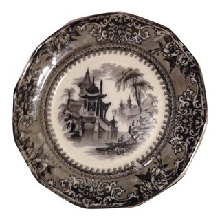 Victorian Black Transferware Plate Chinoiserie 19th C Gothic Antique Cleveland For Sale
