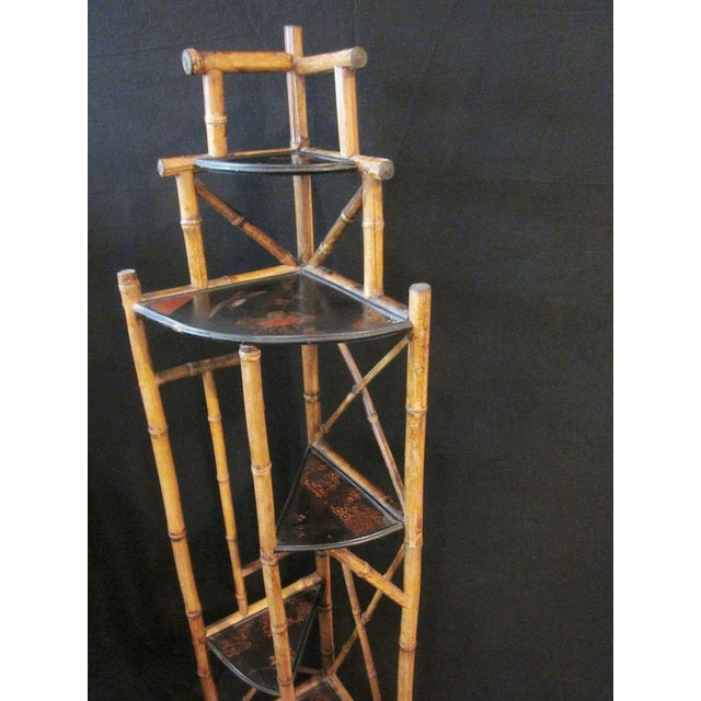1900s Art Nouveau Bamboo Chinoiserie Etagere Shelving Corner Shelf For Sale - Image 4 of 8