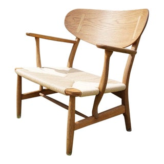 Hans Wegner Danish Modern CH22 Oak Chair For Sale