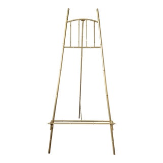 Large Vintage Gold Gilt Faux Bamboo Metal Floor Easel For Sale