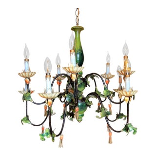 (Last Chance July 4th) Painted Wrought Iron & Wood Tassel Chandelier, (Ten Arm)