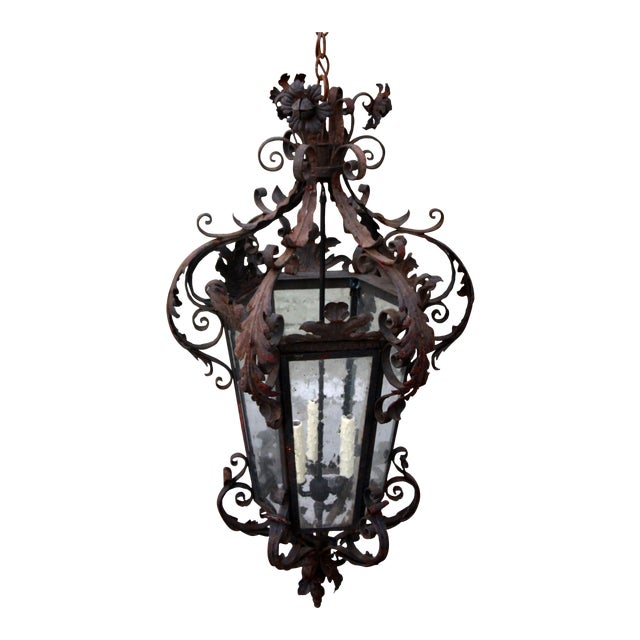 Spanish Wrought Iron Lantern For Sale