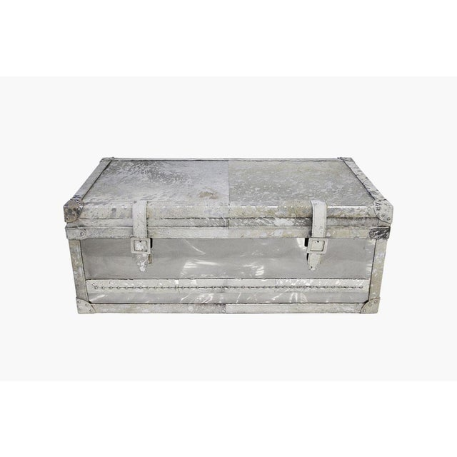 Forest Collection Steel and Cowhide Silver Trunk - Image 2 of 5