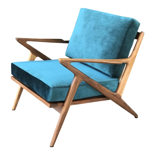 Mid Century Z Chair in Peacock Jade For Sale