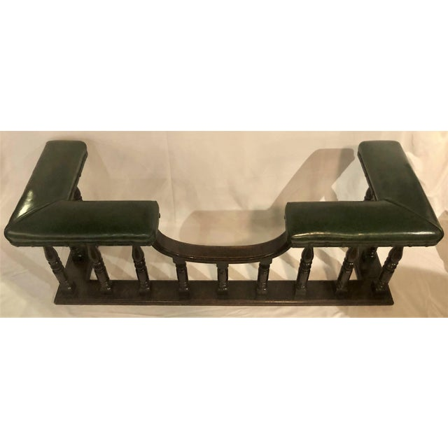 English Antique English Country Oak and Leather Fireside Bench, Circa 1890. For Sale - Image 3 of 6