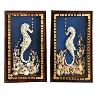 Vintage Seashell Seahorse Shadow Box Sculptures Wall Art - a Pair For Sale