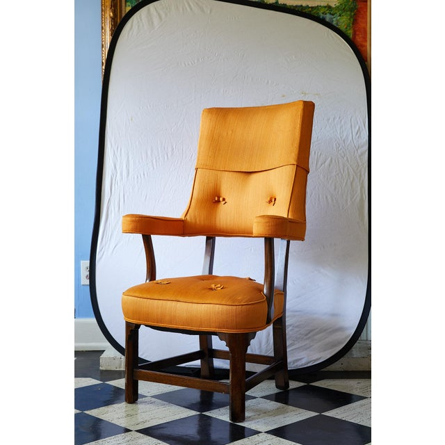 Early 20th Century Mahogany Arm Chair in Vintage Orange Upholstery For Sale - Image 13 of 13