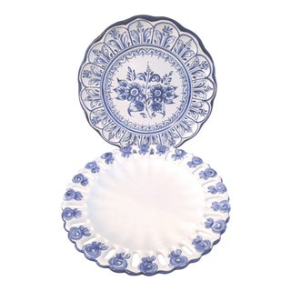 Blue & White Hanging Platters - A Pair