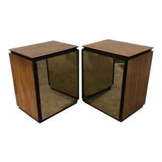 1970s Lane Walnut and Mirrored Nightstands - a Pair