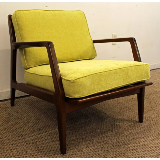 Mid-Century Danish Modern 'Citron' Walnut Open Arm Lounge Chair - Image 4 of 11