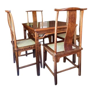Asian Dining and Games Table & Chairs, 5 Pieces For Sale