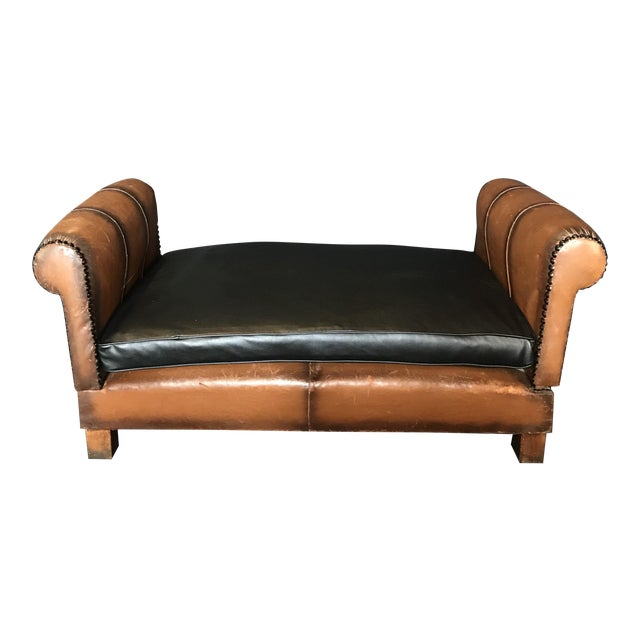 French Art Deco Leather Convertible Daybed Bench For Sale