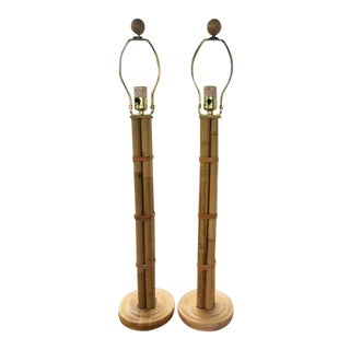 Tall Bamboo Rattan Lamps - a Pair For Sale
