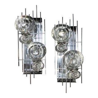 Mid-Century Crystal and Chrome Sconces - a Pair For Sale