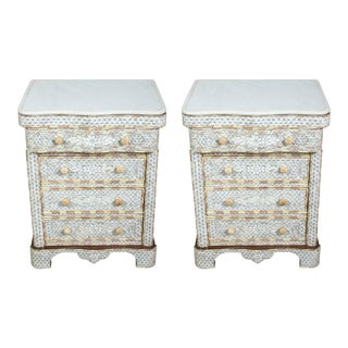 20th Century Moroccan Mother-Of-Pearl Inlay Syrian Nightstands - a Pair For Sale