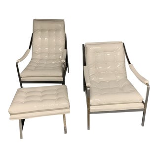 1950s Mid Century White Vinyl and Chrome Chair and Ottoman Set - 3 Pieces For Sale